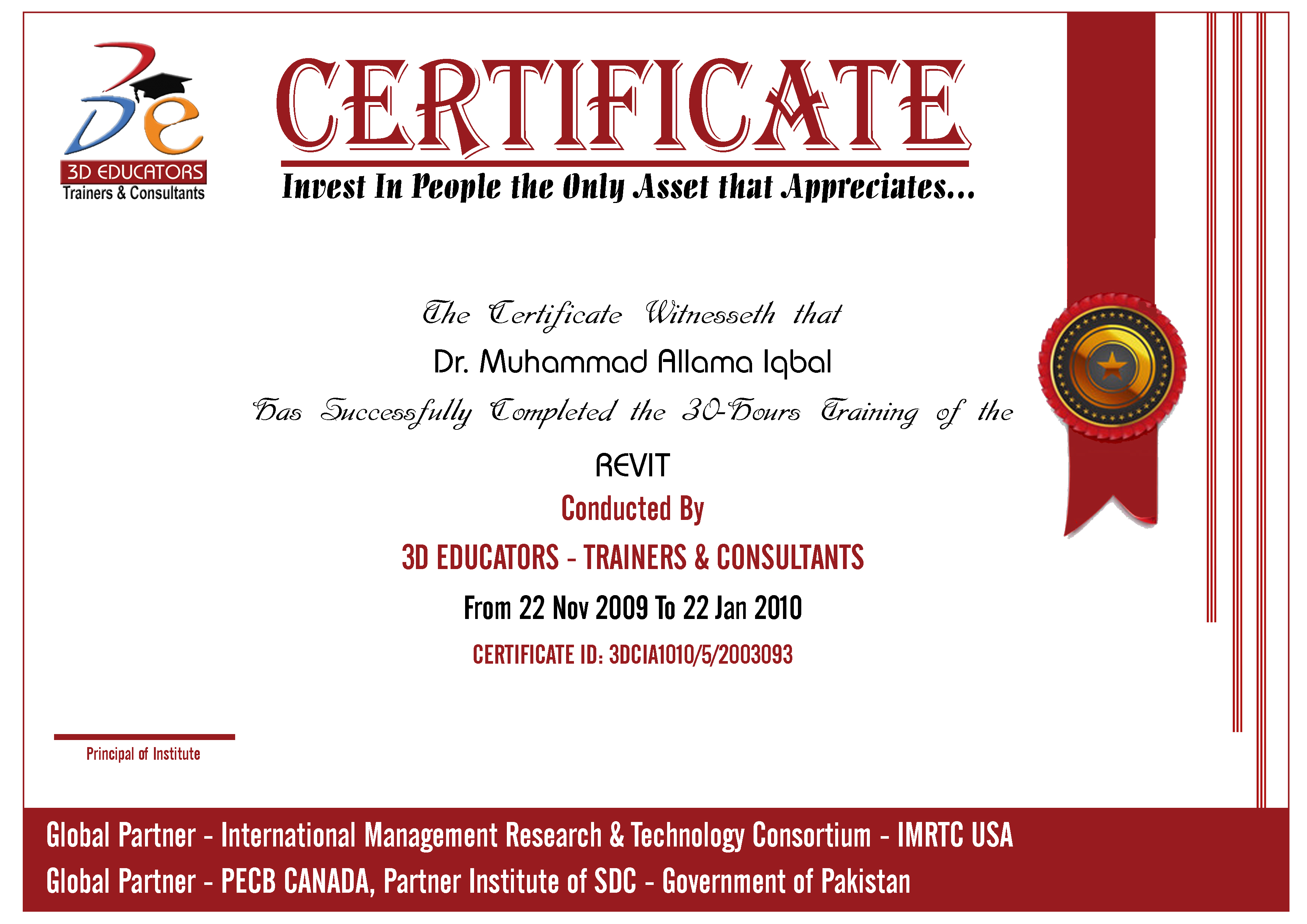 REVIT For Engineers Training Sample Certificate