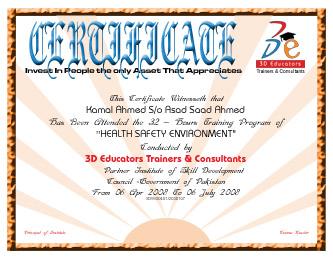hse certificate sample