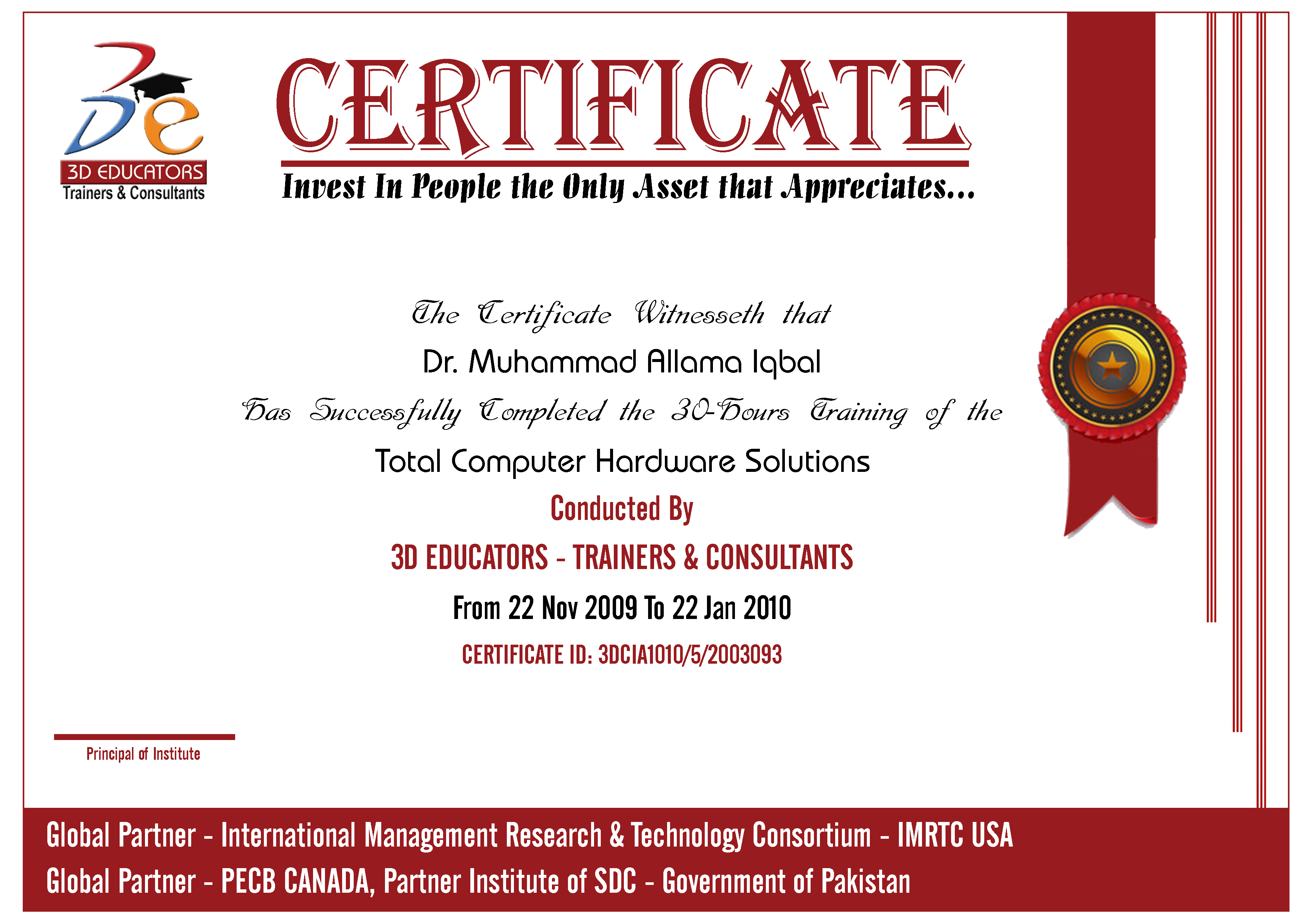 Total Computer Hardware Training Sample Certificate