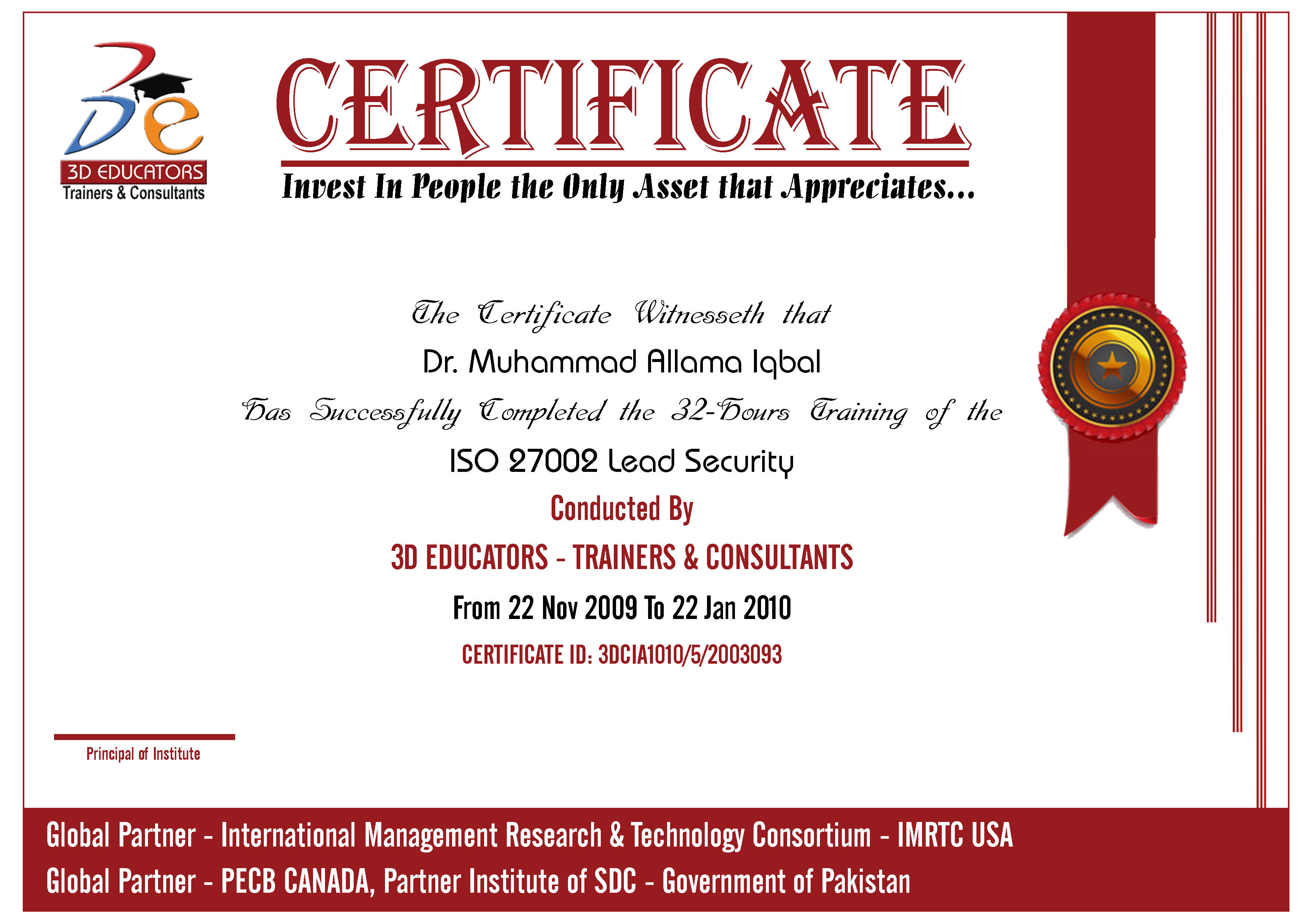 ISO 27002 Lead Security Training Sample Certificate