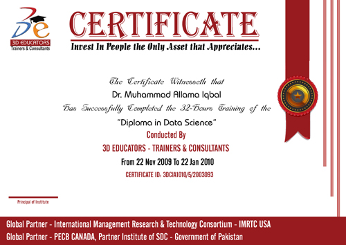 Data Science Training Sample Certificate