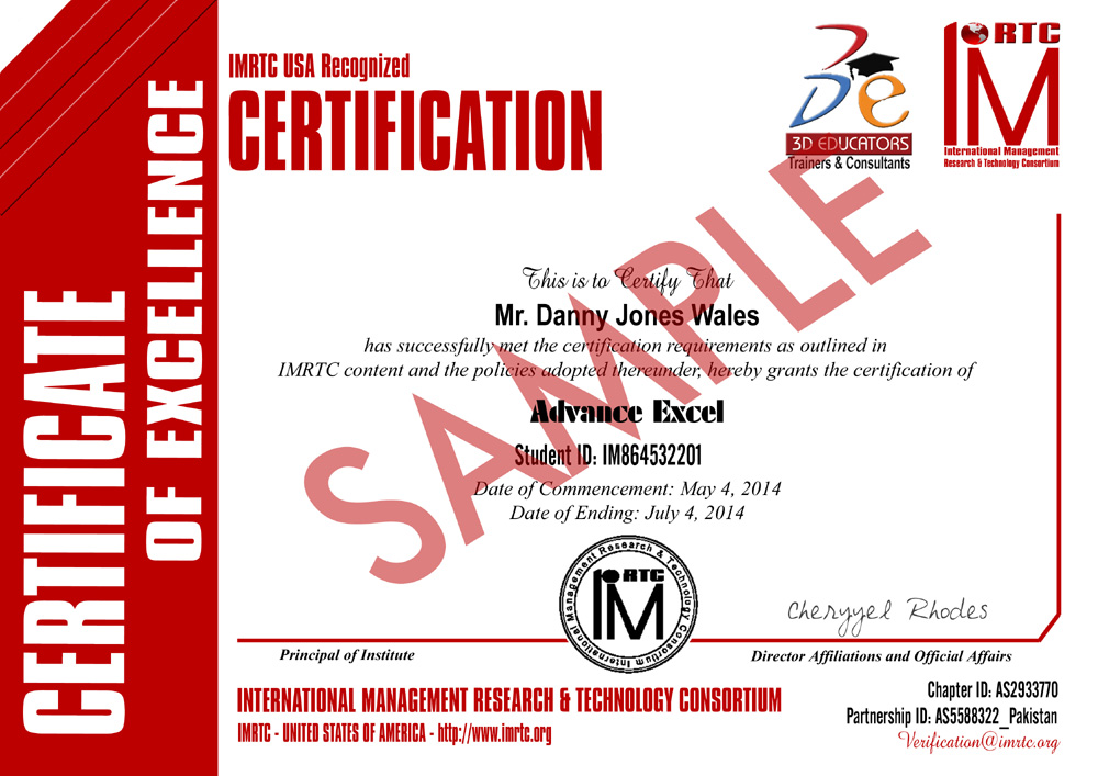 Advance Excel Sample Certificate