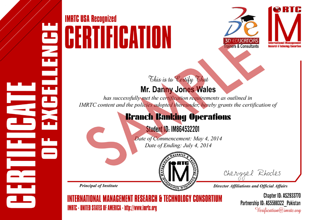 Branch Banking Operations Training Sample Certificate