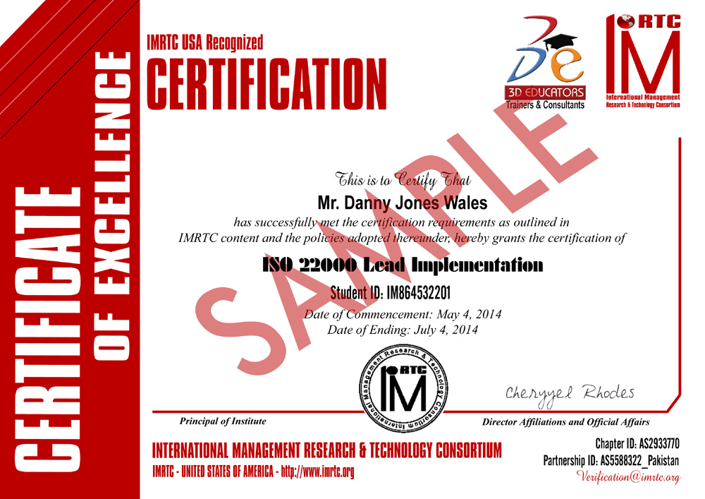ISO 22000 Food Safety Training Sample Certificate