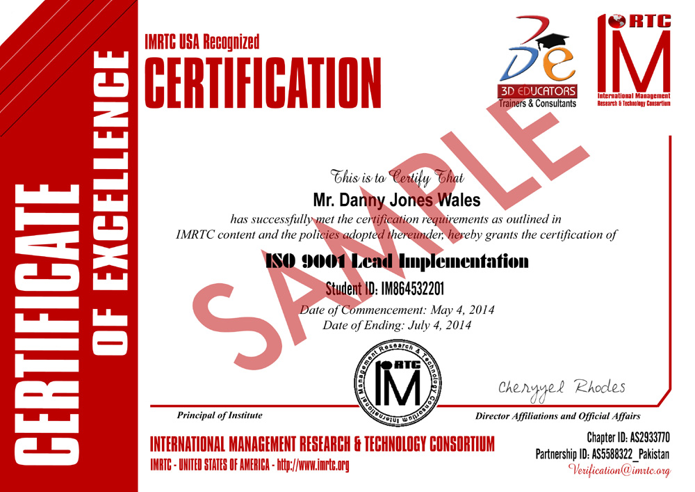 ISO 9001 Implementation Training Sample Certificate