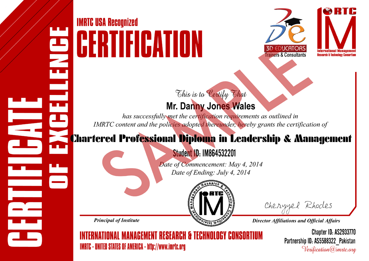 Leadership and Management Sample Certificate