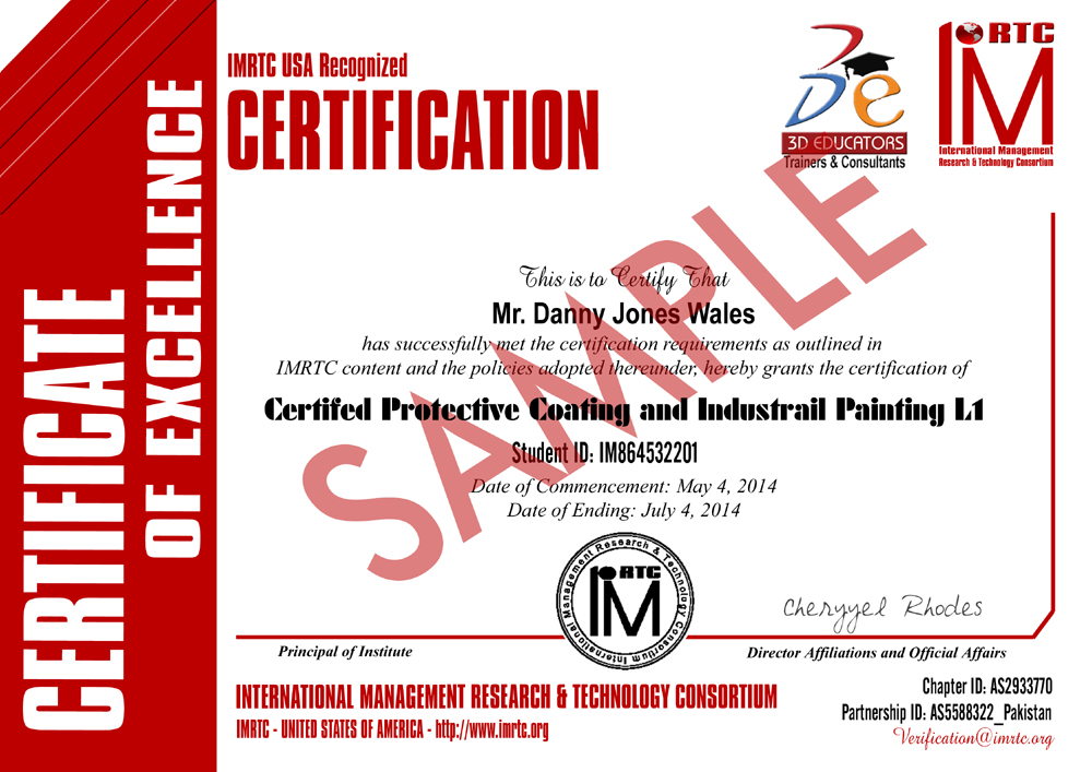 Protective Coatings Training Sample Certificate