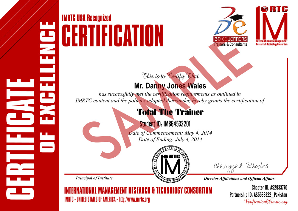 Train The Trainer Sample Certificate