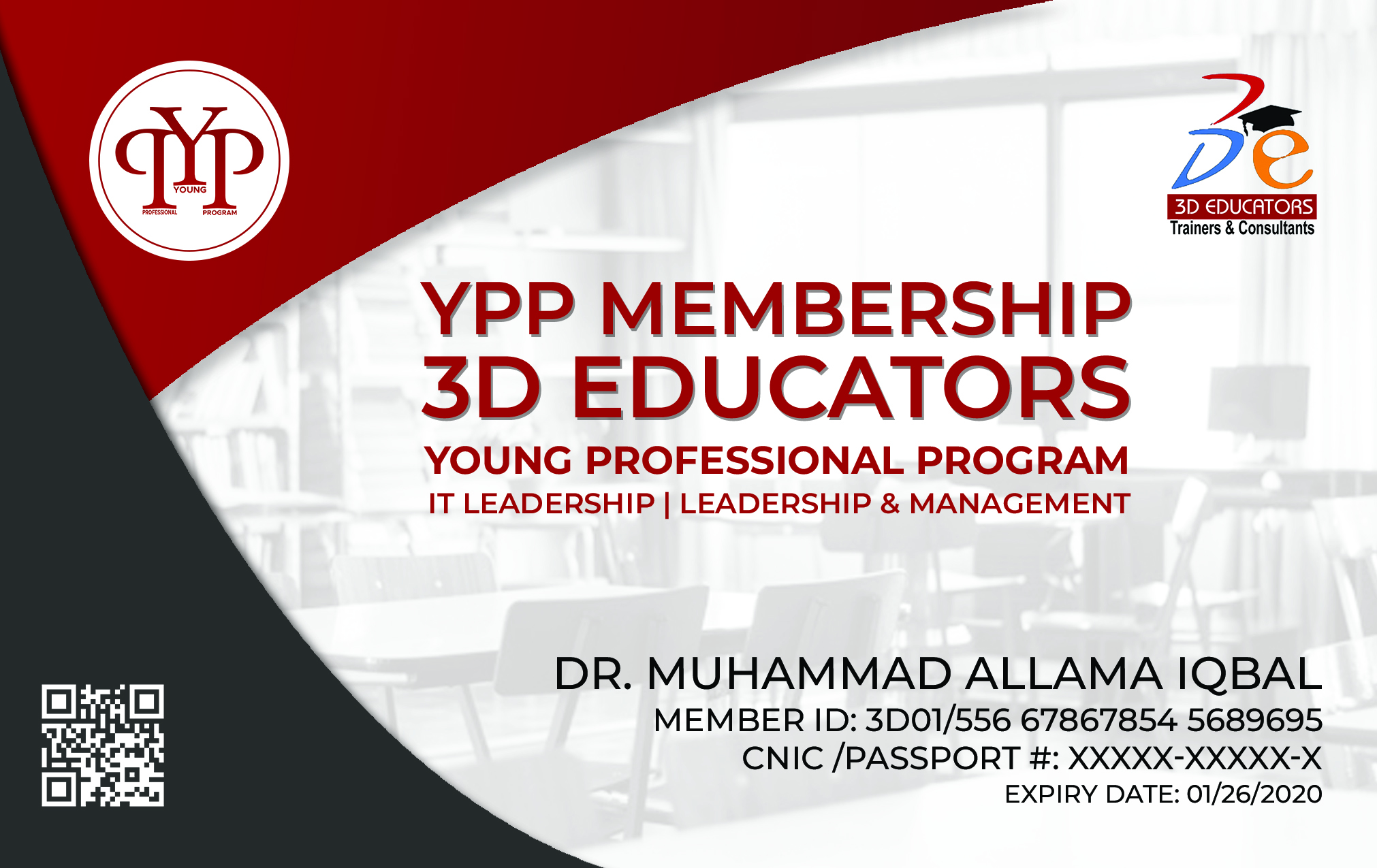 YPP - Young Professional Membership Card Specimen