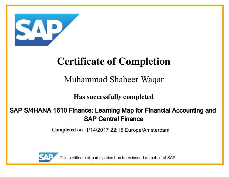 SAP S4 HANA Training Sample Certificate