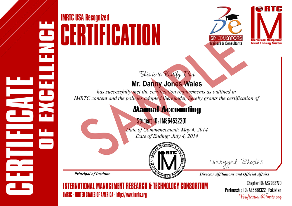 Manual Accounting Training Sample Certificate