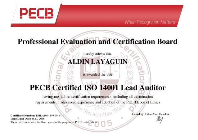 ISO 14001 LEAD AUDITOR TRAINING PROGRAM IN PAKISTAN THROUGH PECB CANADA