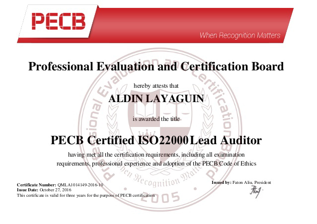 ISO 22000 Lead Auditor Training Sample Certificate