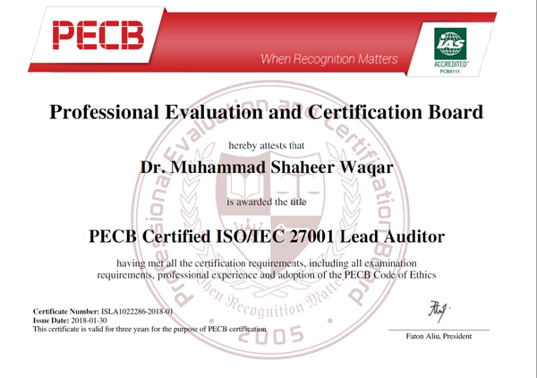 ISO 27001 Lead Auditor Training Sample Certificate