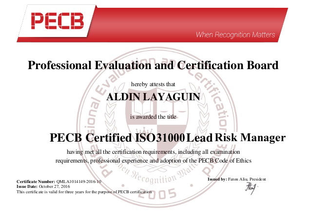 ISO 31000 Lead Risk Manager Sample Certificate